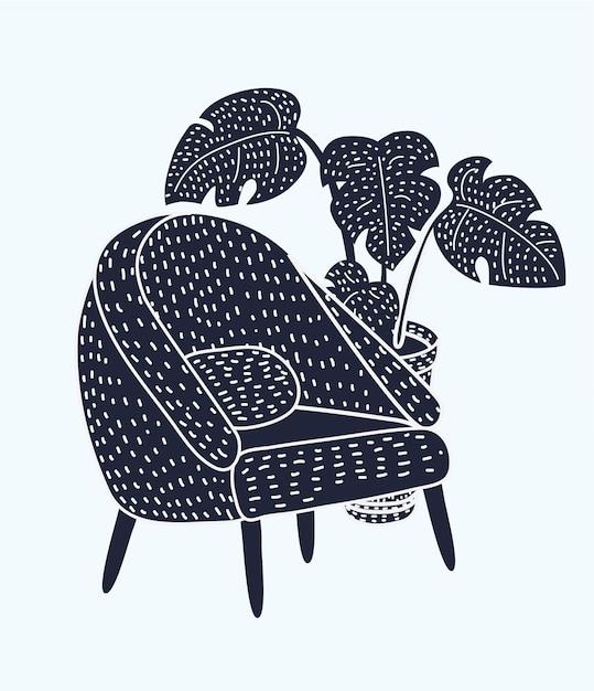 Illustration of stylish vintage armchair Premium Vector