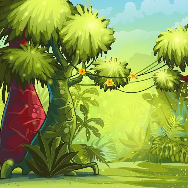 Иллюстрация солнечное утро в джунглях. Premium векторы
