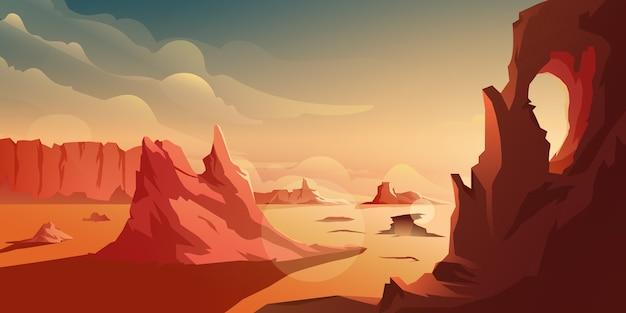 砂漠の山を背景に夕日のイラスト Premiumベクター