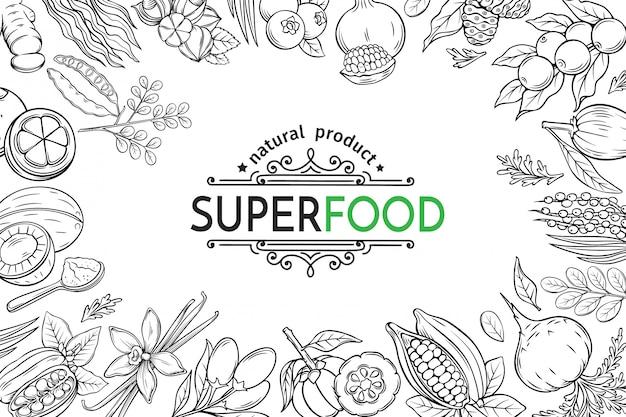 Иллюстрация суперпродуктов ягоды и фрукты плакат шаблон. рожковое дерево, имбирь, моринга, лукума, ягоды коджи, мангостин, гуарана и нони. здоровая детоксикация каму-каму, гарцинии камбоджийской и мака. Premium векторы