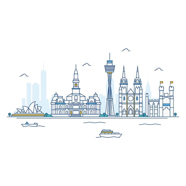 Illustration of sydney skyline. Premium Vector