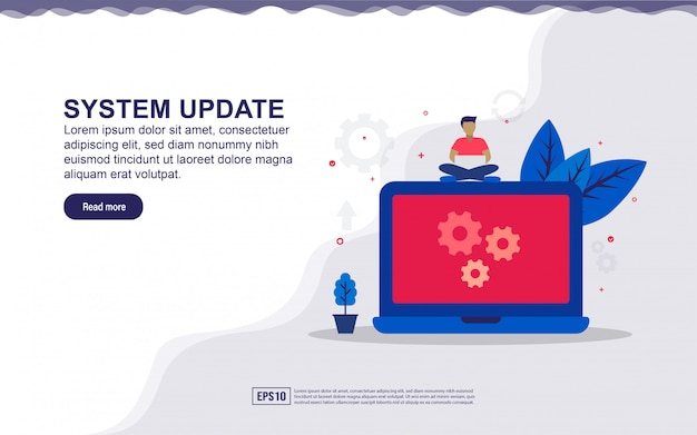 Illustration of system update & maintenance system  with tiny people. illustration for landing page, social media content, advertising. Premium Vector