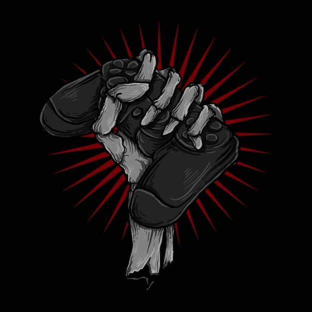 Illustration and t-shirt design skeleton hand with controller game Premium Vector
