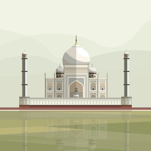 Illustration of taj mahal Free Vector