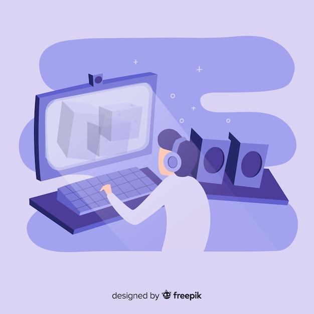 Illustration of teenage gamer playing video games on desktop computer Free Vector