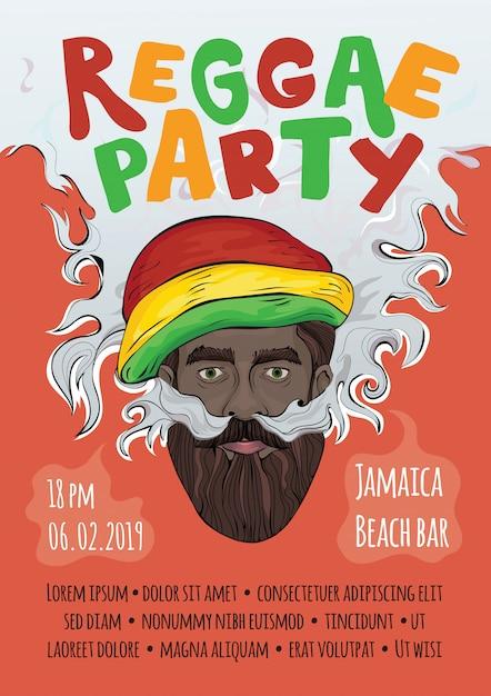 Illustration, template of advertising poster for reggae music concert or party. black man in rasta hat making smoke cloud. rastaman smoking marijuana. Premium Vector