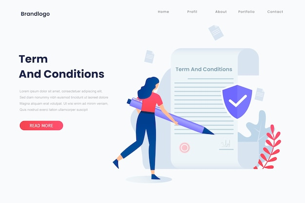 Illustration of terms and conditions concept. landing page Premium Vector