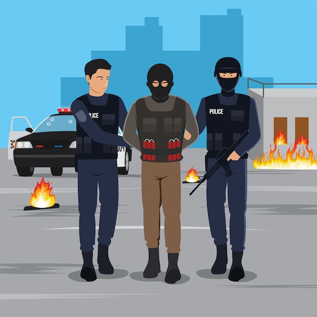 Illustration of a terrorist arrested by police Premium Vector