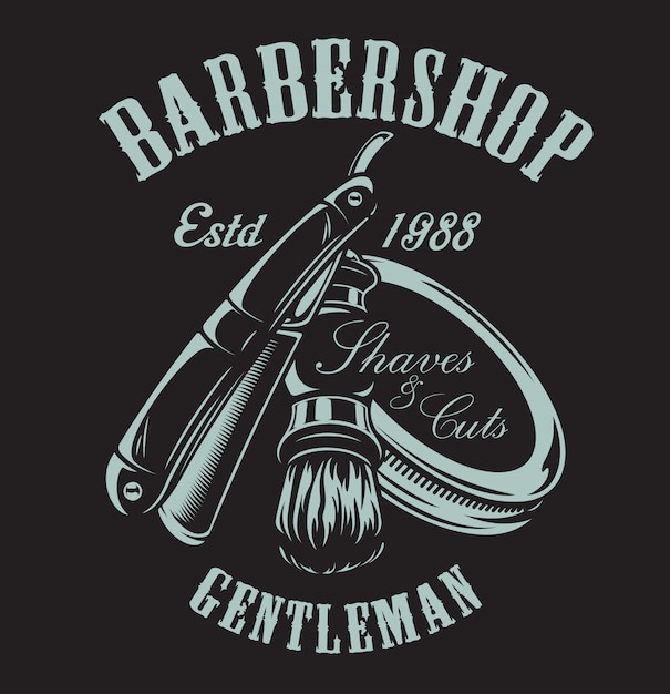 Illustration on the theme of barbershop with a razor and shaving brush on the dark background. Premium Vector