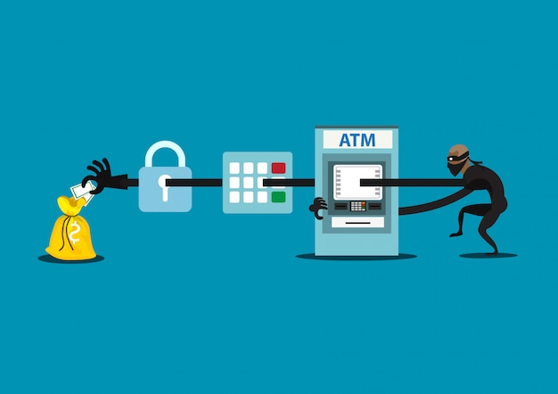 Illustration thief steals money from atm, blue cash machines, in black shirt, robber in mask. Premium Vector