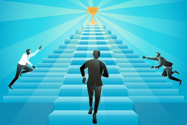 Illustration of three businessman running up stairs to success Premium Vector
