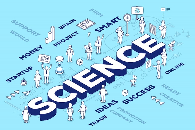 Illustration of three dimensional word science with people and tags on blue background with scheme. Premium Vector