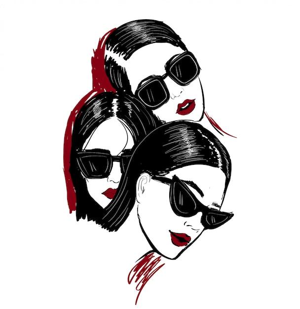 Illustration of three faces n glasses Premium Vector