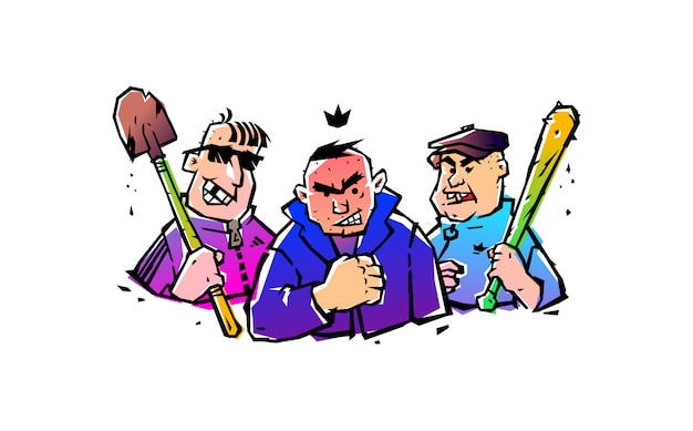 Illustration of three hooligans with a bat and a shovel. vector. Premium Vector