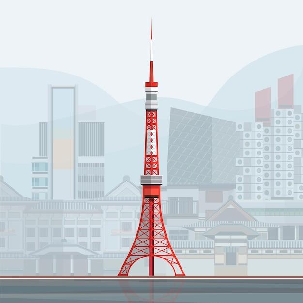 Illustrazione della torre di tokyo Vettore gratuito