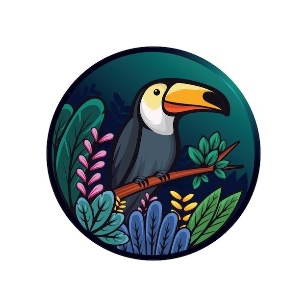 Illustration of toucan and leaves Premium Vector