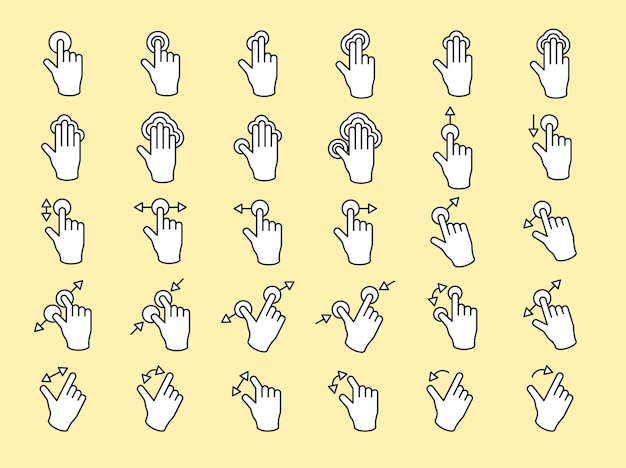Illustration of touch screen hands gesture in thin line Free Vector