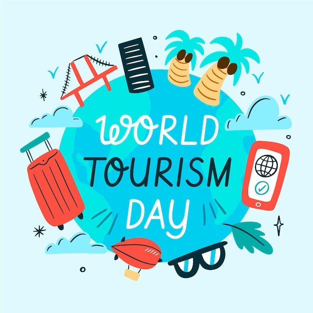 Illustration for tourism day event Free Vector