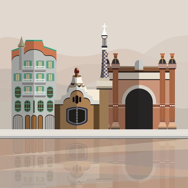 Illustration of tourist attractions in barcelona spain Free Vector