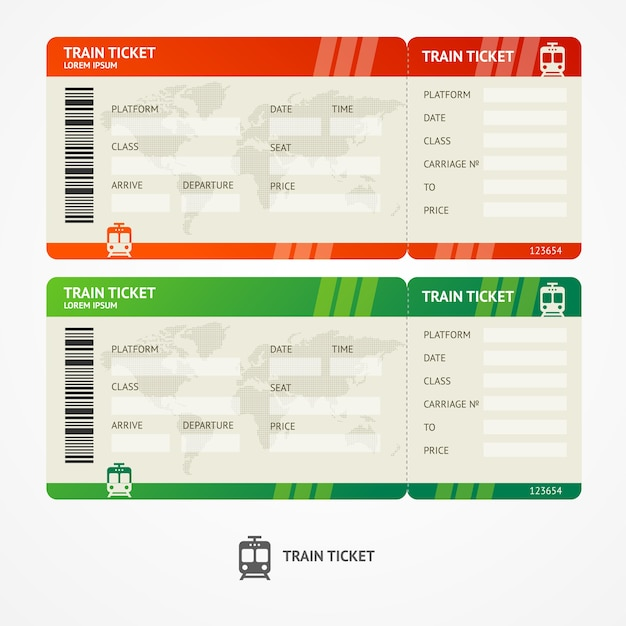 Illustration train tickets. travel concept. isolated on white. Premium Vector
