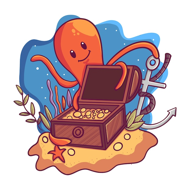 Illustration of a treasure box under the sea with an octopus Premium Vector