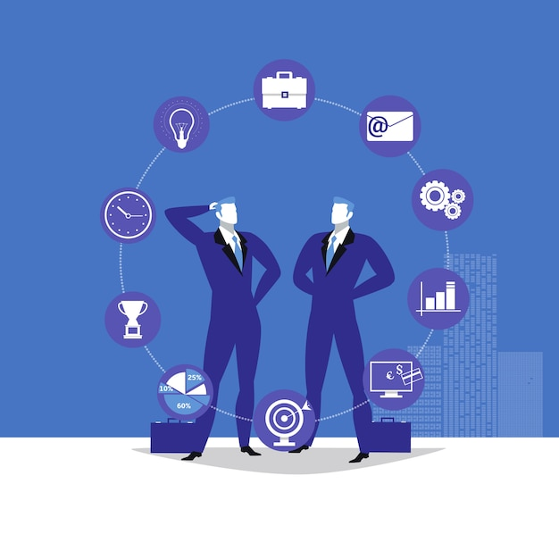 Illustration of two businessmen and business icons Premium Vector