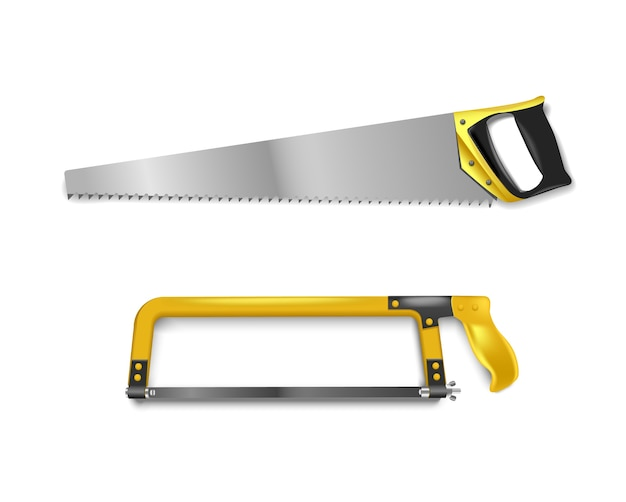 Illustration two hand saws with yellow handle. hand saw for cutting metal and tree Premium Vector