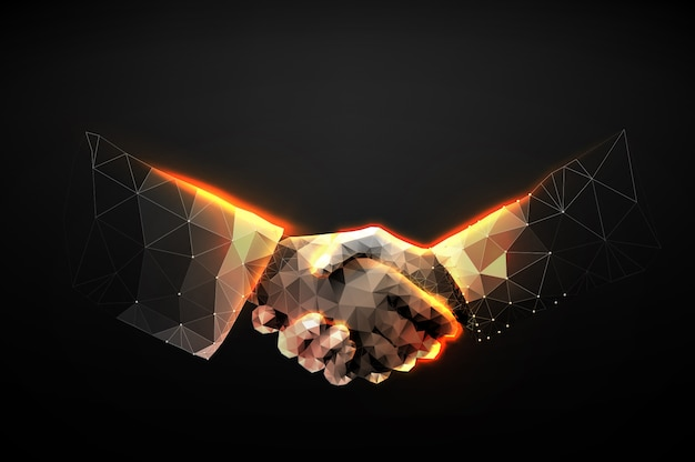 Illustration of two hands handshake in the form of a starry sky or space Premium Vector