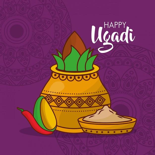 Illustration of ugadi indian celebration Free Vector