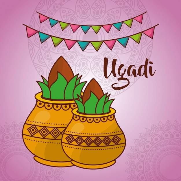 Illustration of ugadi indian celebration Free Vector