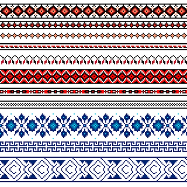 Illustration of ukrainian folk seamless pattern ornament. ethnic ornament. border element. Free Vector