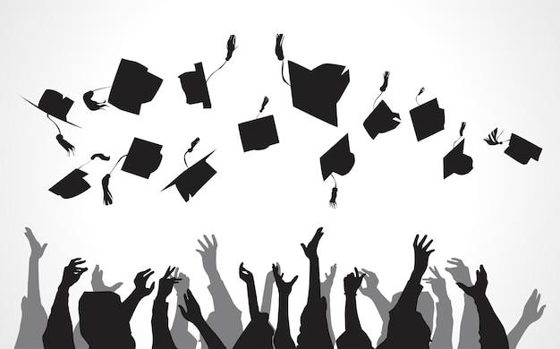 Illustration of university graduates Free Vector
