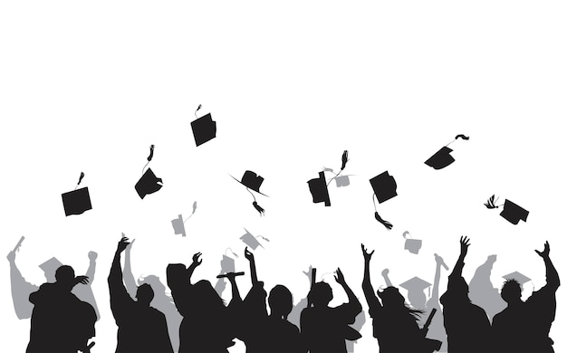 Illustration of university graduates Free Vector