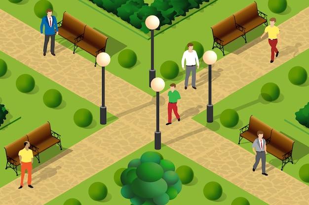 Illustration of an urban park Premium Vector
