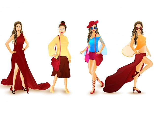 Illustration of urban women character in western outfit. Premium Vector