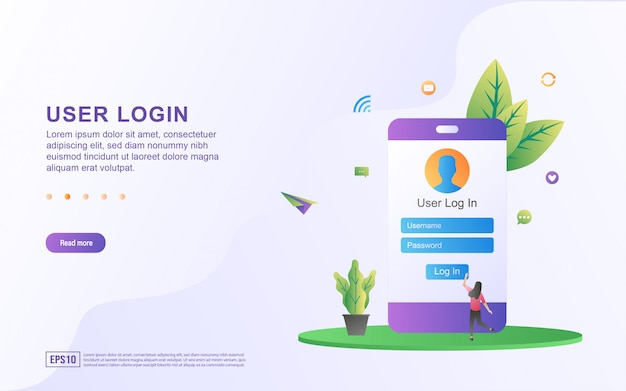 Illustration of user login by entering a user name and password to login. Premium Vector