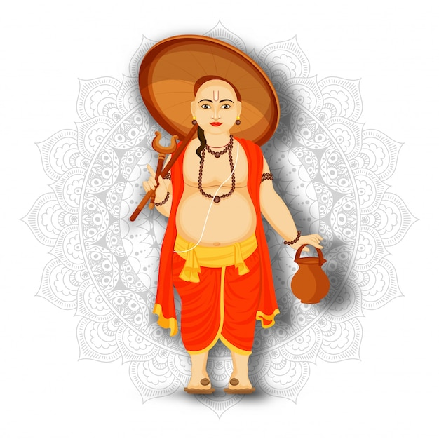 Illustration of vamana character holding umbrella on mandala pattern background for happy onam festival celebration. Premium Vector