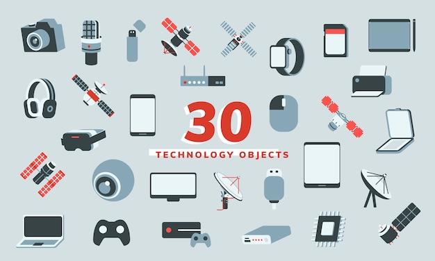 Illustration vector of 30 technology objects Free Vector