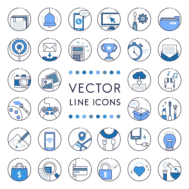 Illustration of vector line collection Free Vector