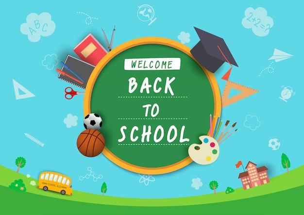 Вектор иллюстрации назад к дизайну школы с символом канцелярских принадлежностей и знания на предпосылке школы. Premium векторы
