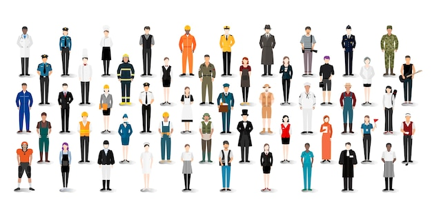 Illustration vector of various careers and professions Free Vector