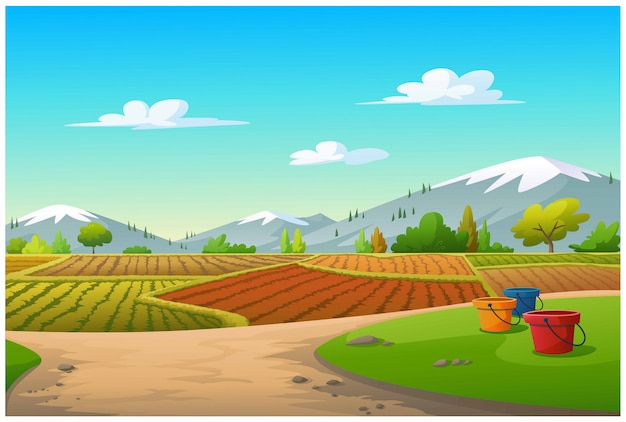Illustration of a vegetable plot and a mountain in the morning. Premium Vector