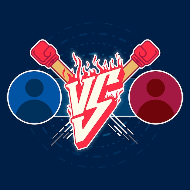 Illustration versus fight emblem Premium Vector
