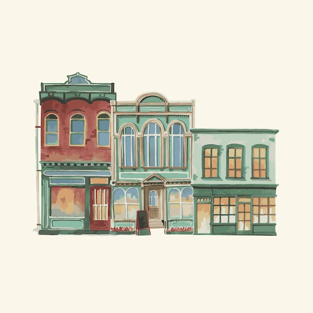 Illustration of a vintage european building exterior in water color Free Vector