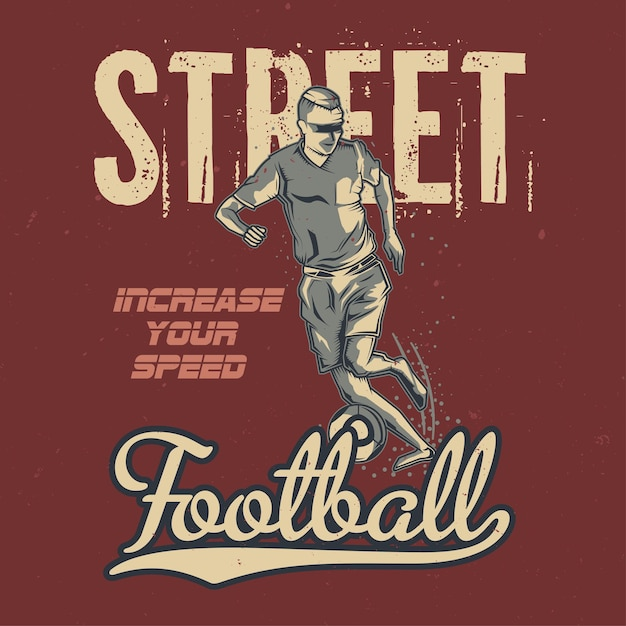 Illustration of vintage football player Free Vector