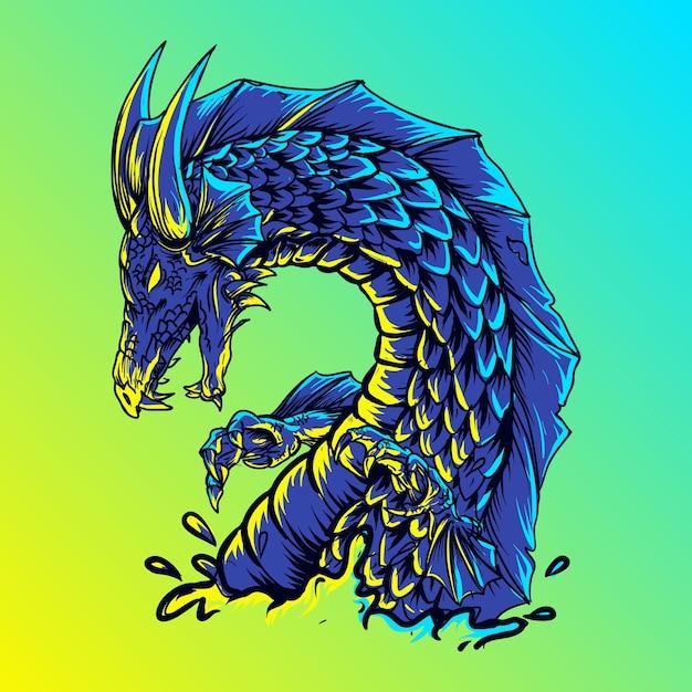 Иллюстрация водяной дракон Premium векторы