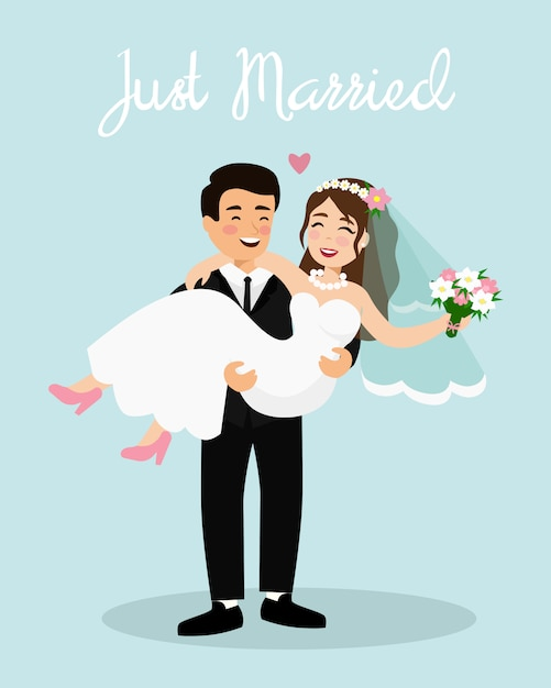 Illustration Of Wedding Couple Bride And Groom Just Married Couple Happy Groom Is Holding Bride Cartoon Flat Style Premium Vector