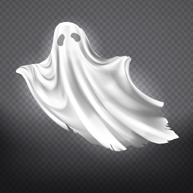 Illustration of white ghost, phantom silhouette isolated on transparent background. Free Vector