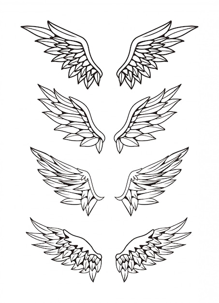 Illustration of wings collection set Premium Vector