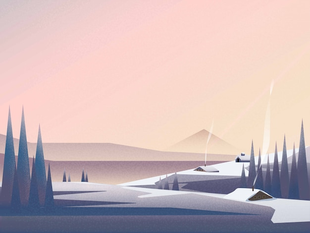 Illustration of winter landscape banner of cabin in at the mountain landscape in winter. Premium Vector